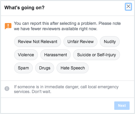 How To Report A Review On Facebook Step 4