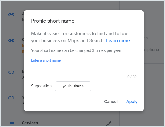 Google My Business Short URL